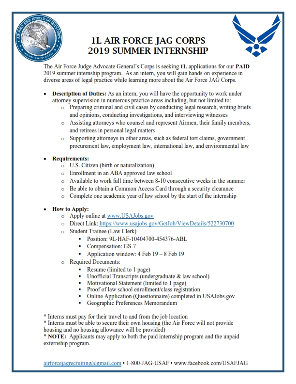 Air Force JAG Corps: 2019 Summer 1L Internship Program