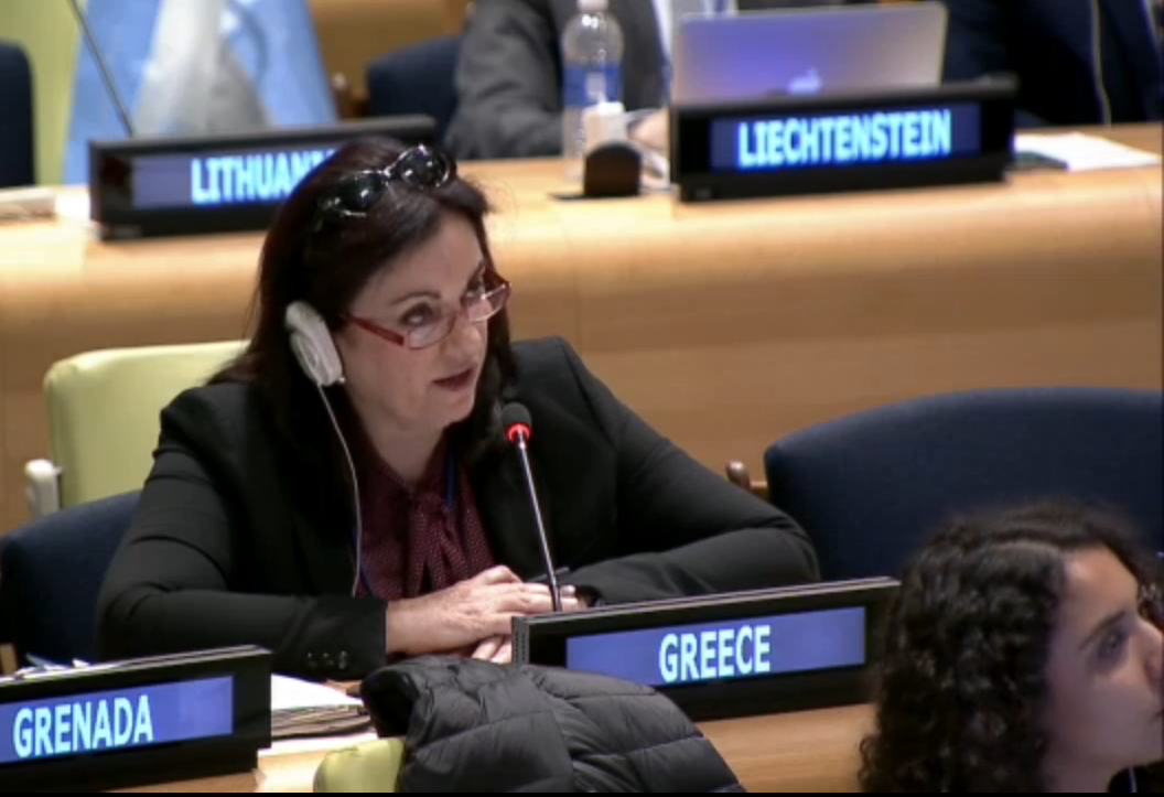 Greece addressing the Sixth Committee regarding Crimes Against Humanity