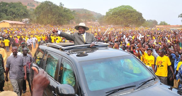 President Museveni at a campaign rally in Mawokota North Constituency in 2010. Source: Daily Monitor.