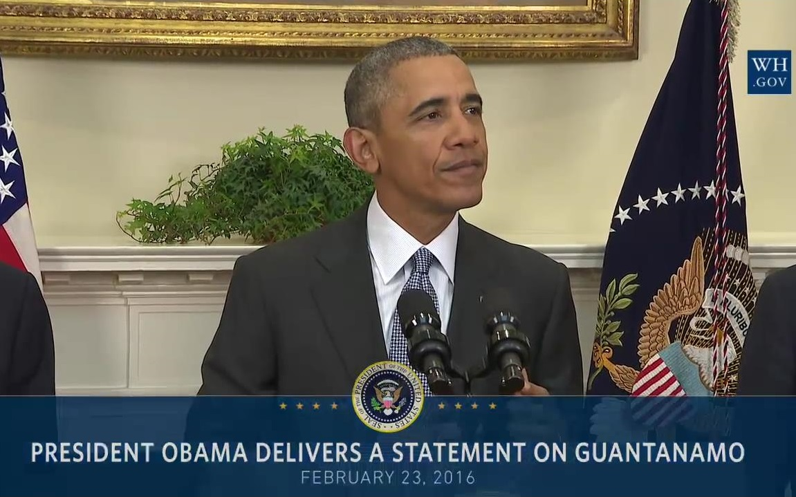 President Obama announcing his plan to close the prison facility at Guantanamo Bay. Source: WhiteHouse.gov.