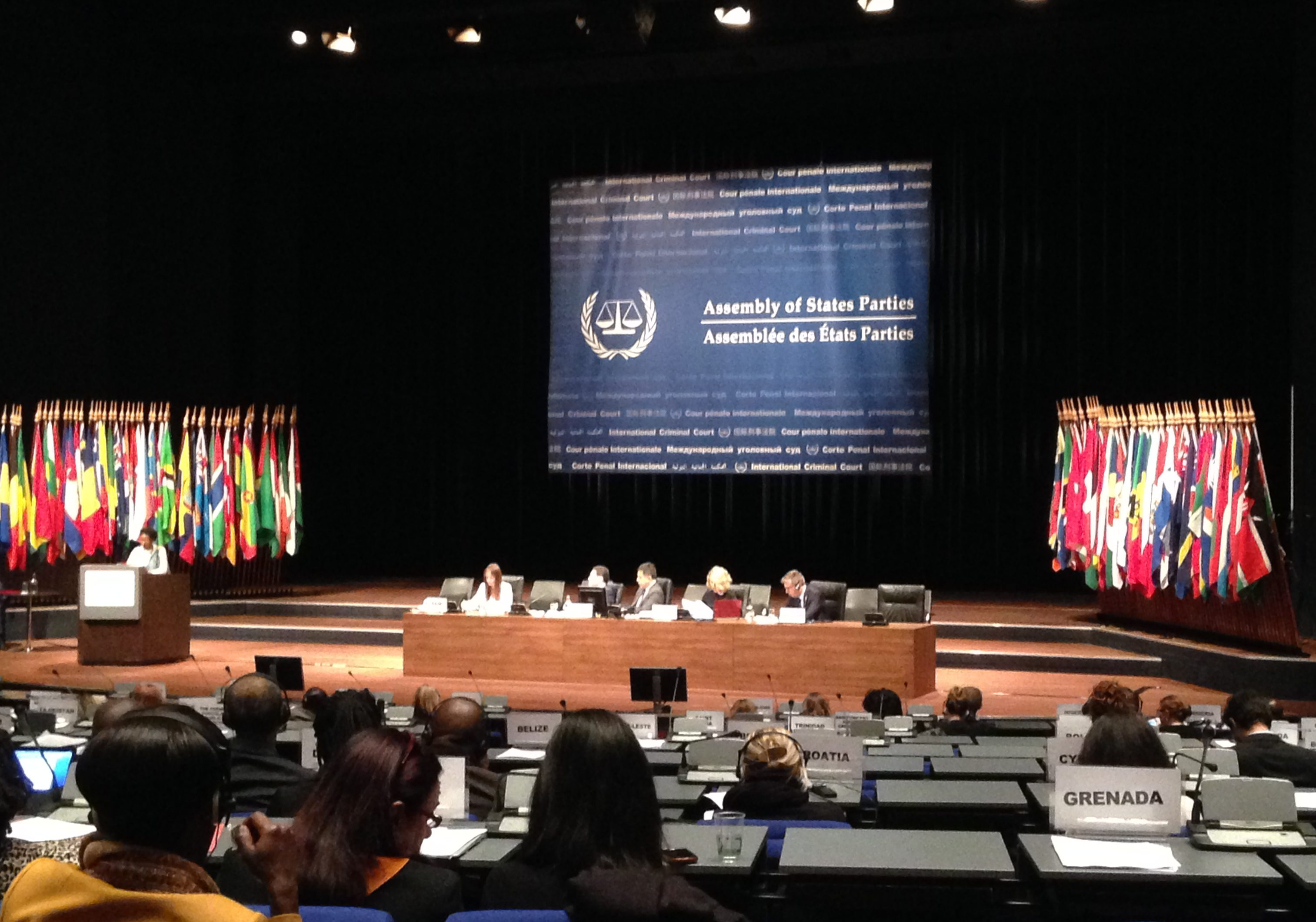 A plenary session at the Fifteenth Session of the ICC Assembly of States Parties, held Nov. 16-24, 2016 in The Hague, the Netherlands