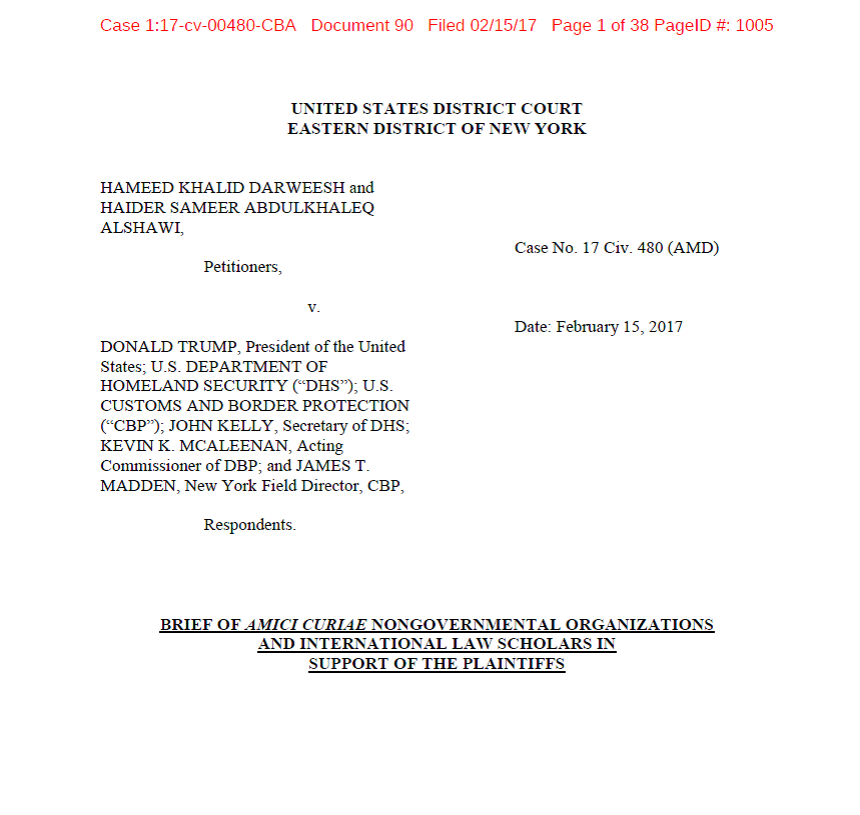 Amicus Brief filed by 77 nongovernmental organizations and international law scholars in Darweesh v. Trump.