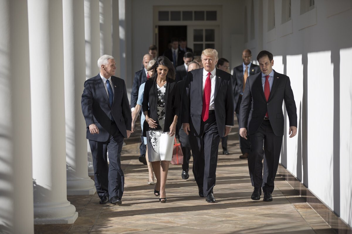New US Ambassador to the UN, Nikki Haley, walks with other administration officials [via Twitter]